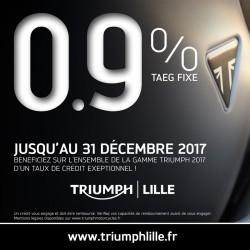 TAUX EXCEPTIONNEL DE 0.9% SUR TOUTE LA GAMME TRIUMPH